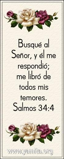 Busqué al Señor, y él me respondio me libro de todos mis temores