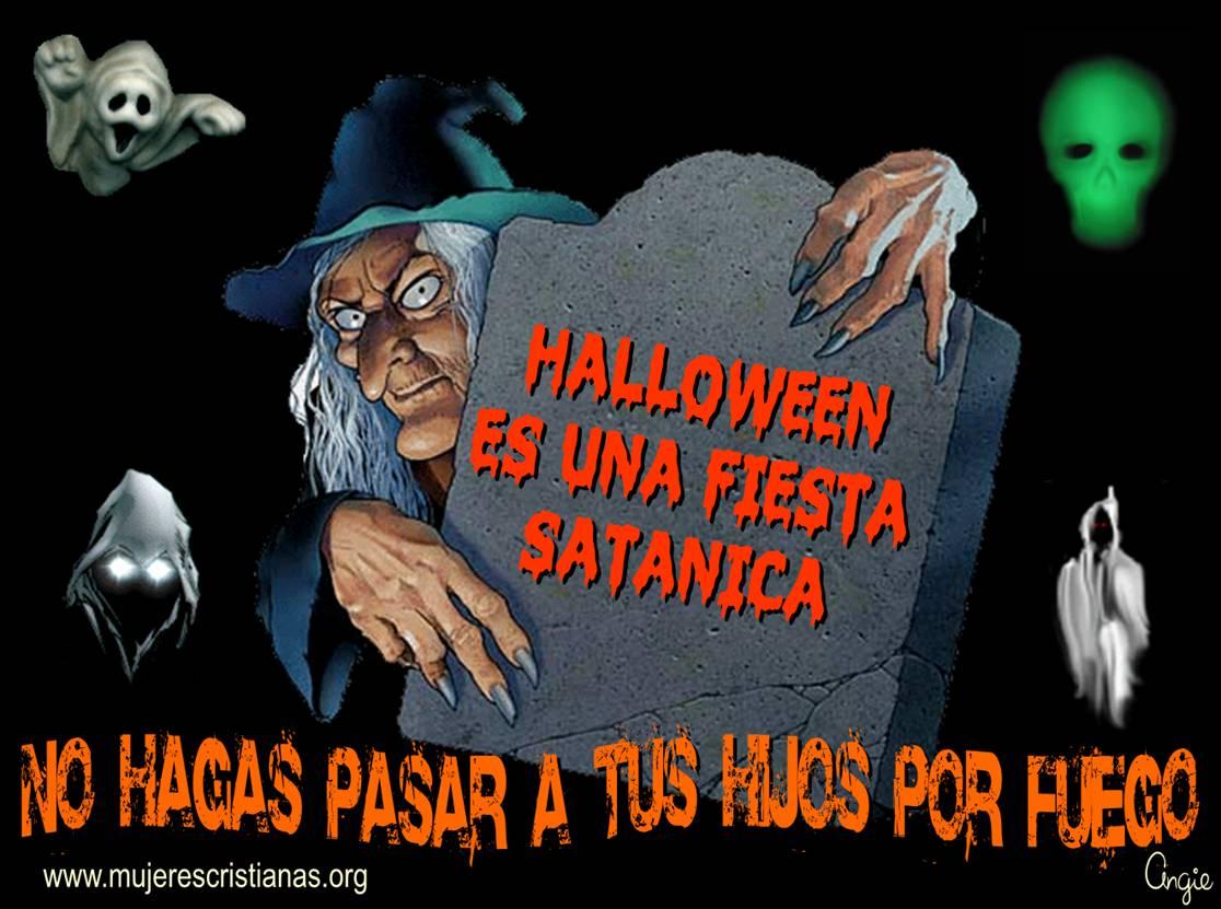 Tarjeta – Halloween es una fiesta satánica ¡No hagas pasar a tus hijos por fuego!