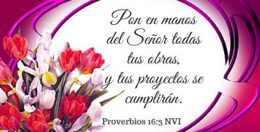 Pon en manos del Señor todas tus obras,y tus proyectos se cumplirán.